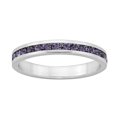 Sterling Silver Purple Crystal Eternity Ring