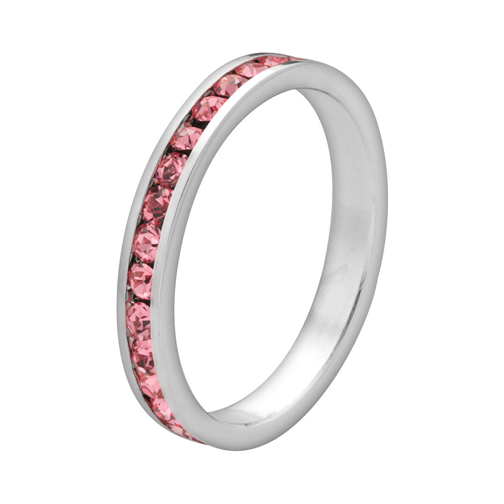 Sterling Silver Pink Crystal Eternity Ring