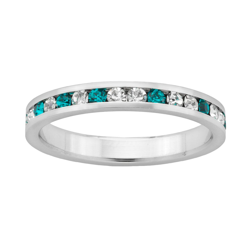 Sterling Silver Teal & White Crystal Eternity Ring