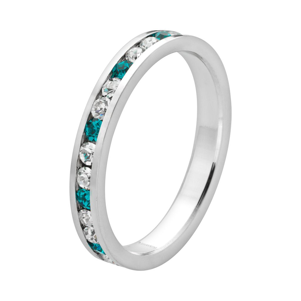 Sterling Silver Teal and White Crystal Eternity Ring