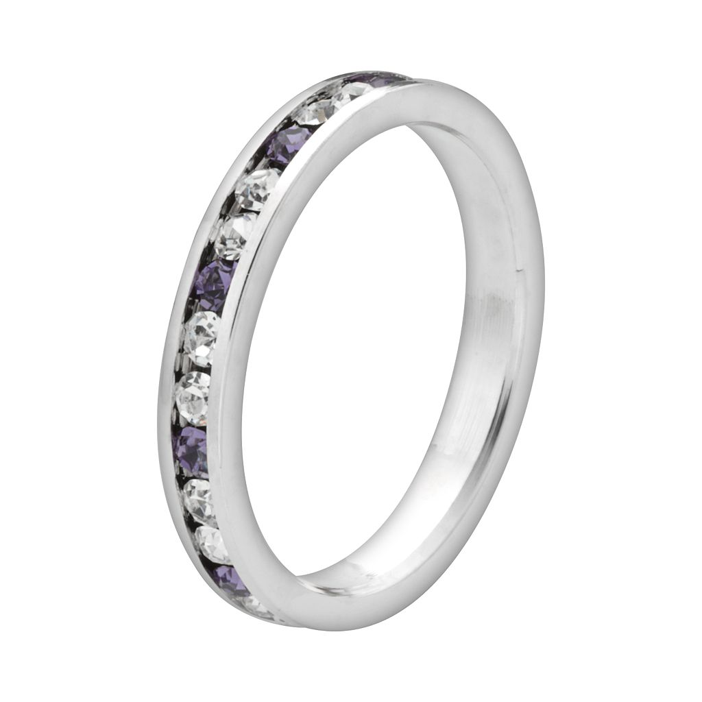 Sterling Silver Purple and White Crystal Eternity Ring