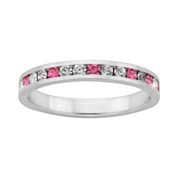 Sterling Silver Pink & White Crystal Eternity Ring