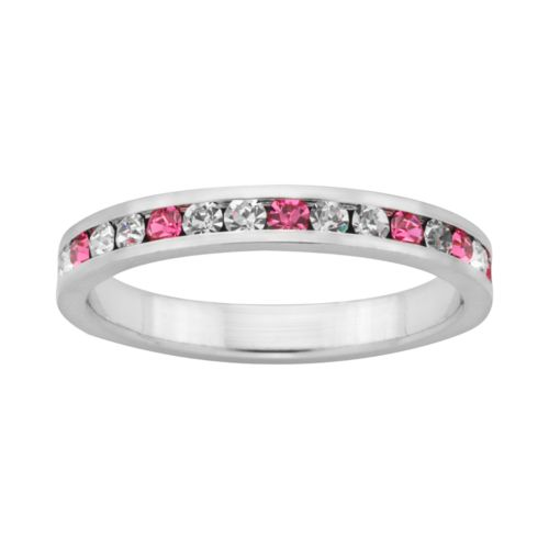 Sterling Silver Pink and White Crystal Eternity Ring