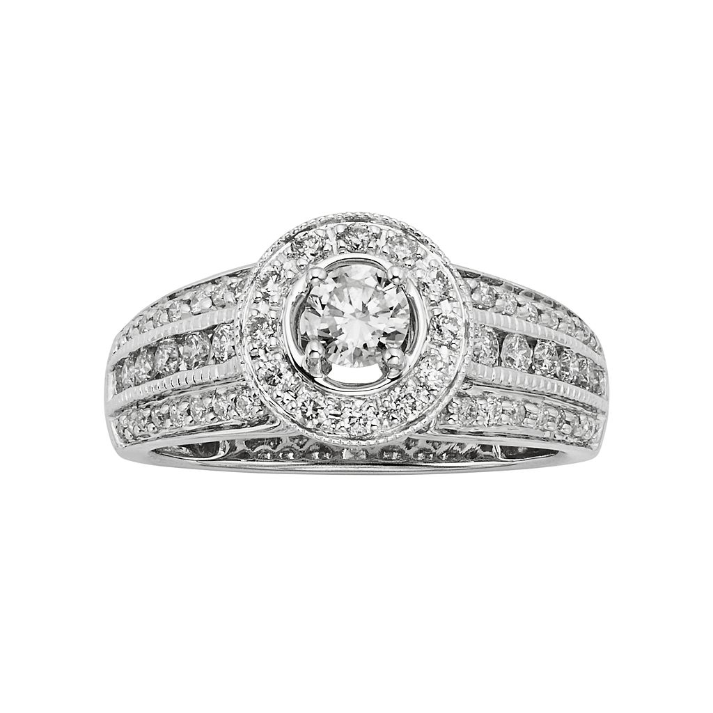 14k White Gold 1-ct. T.W. IGL Certified Round-Cut Diamond Halo Ring