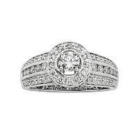 14k White Gold 1 ctT.W. IGL Certified Round-Cut Diamond Halo Ring