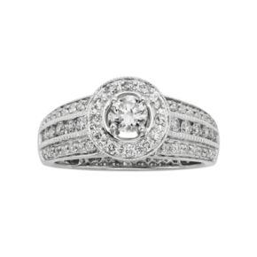 14k White Gold 1-ct. T.W. IGL Certified Round-Cut Diamond Halo Ring