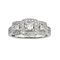 14k White Gold 1 ctT.W. IGL Certified Princess-Cut Diamond Ring