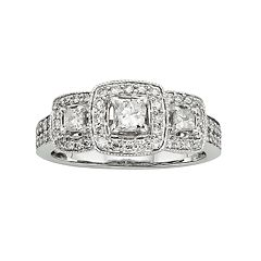 14k White Gold 1-ct. T.W. IGL Certified Princess-Cut Diamond Ring by