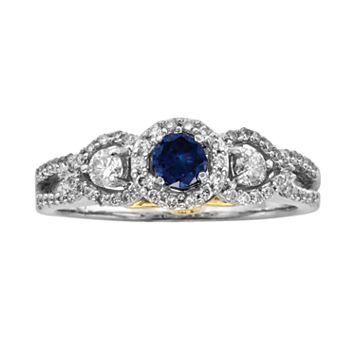 Round-Cut IGL Certified Blue & White Diamond Frame Engagement Ring in 14k White Gold (1 ct. T.W.)