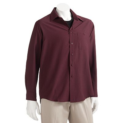 Haggar Microfiber 2-in-1 Patterned Casual Button-Down Shirt - Big and Tall
