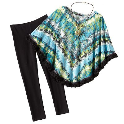 My Michelle Crocheted Poncho Top and Leggings Set - Girls Plus
