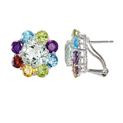 Sterling Silver Gemstone Flower Stud Earrings