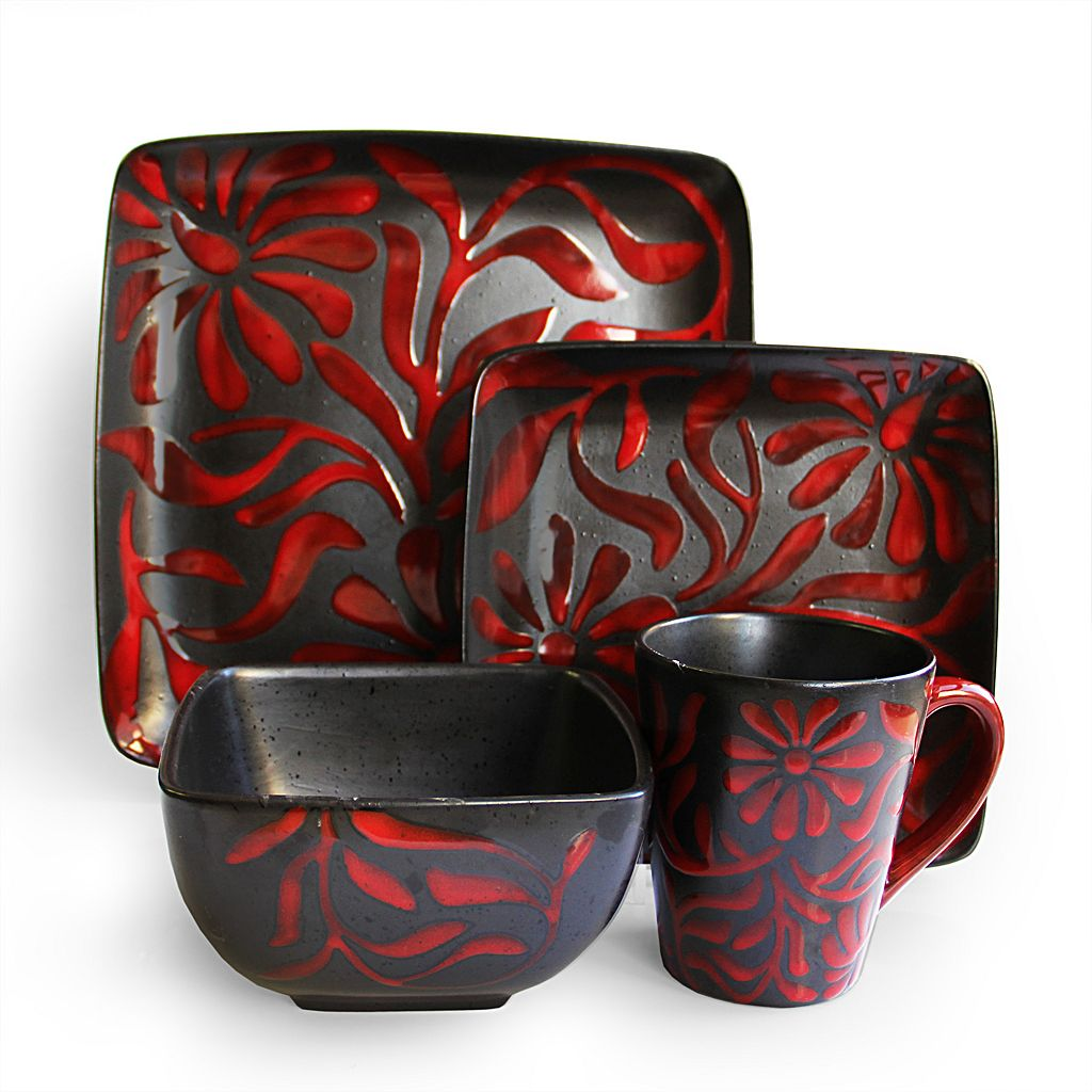 American Atelier Daisy Red 16-pc. Dinnerware Set