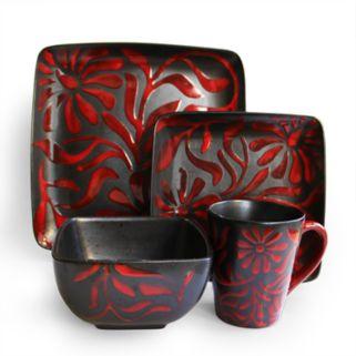 American Atelier Daisy Red 16-pc. Dinnerware Set