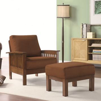 HomeVance Mission Chair & Ottoman Set