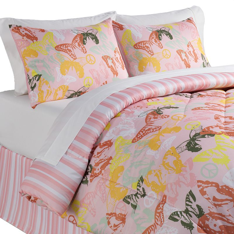 Veratex Butterflies Are Free Reversible 4-pc. Comforter Set - Full