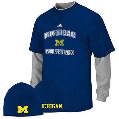 adidas Michigan Wolverines Mock-Layer Tee and Knit Cap Set - Boys 8-20