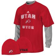 adidas Utah Utes Mock-Layer Tee and Knit Cap Set