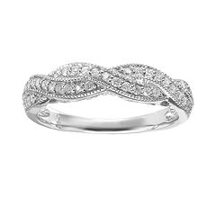 Simply Vera Vera Wang Diamond Twist Engagement Ring in 14k White Gold (1\/3 ct. T.W.) by