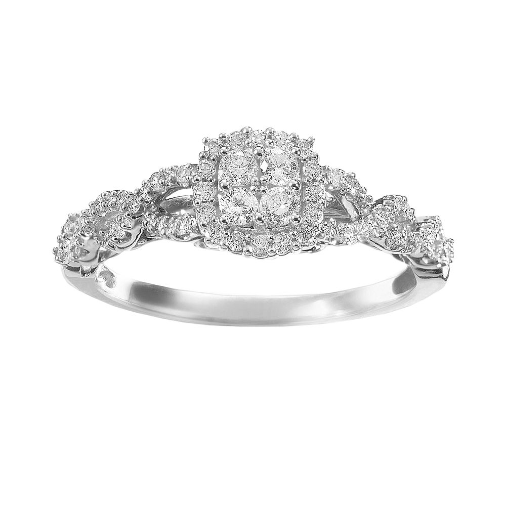 Simply Vera Diamond Twist Frame Engagement Ring In 14k White Gold 1 3 Ct T W
