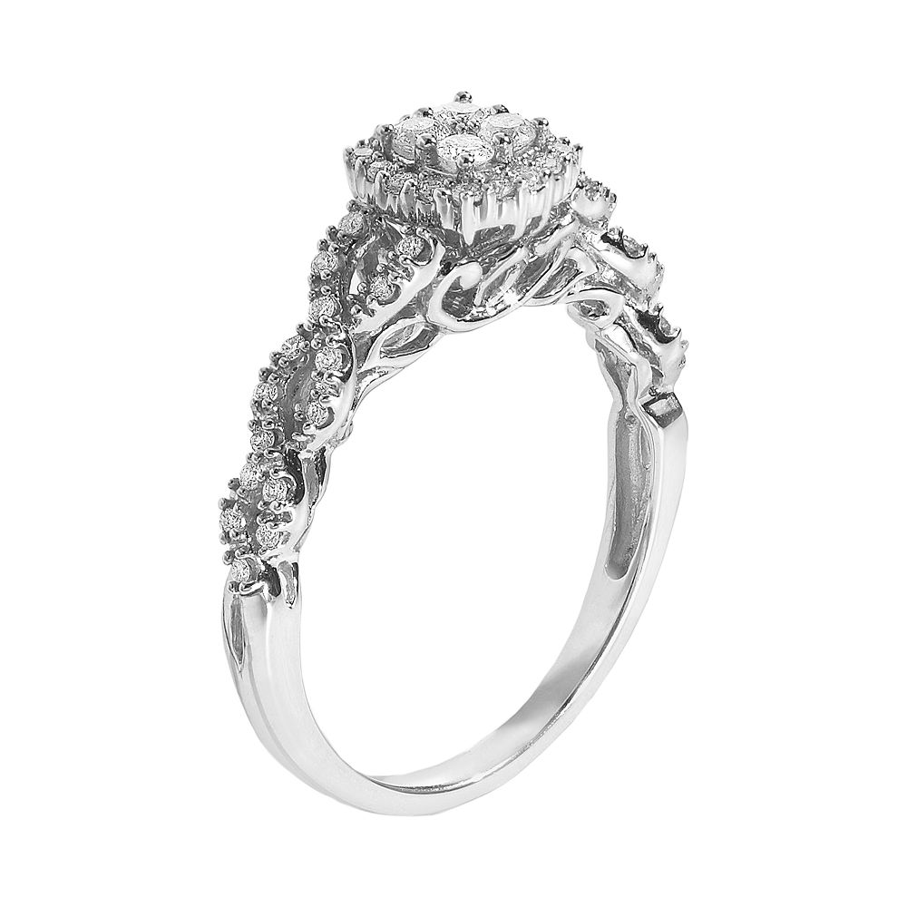 Simply Vera Wang Diamond Twist Frame Engagement Ring In 14k White Gold 1 3 Ct TW