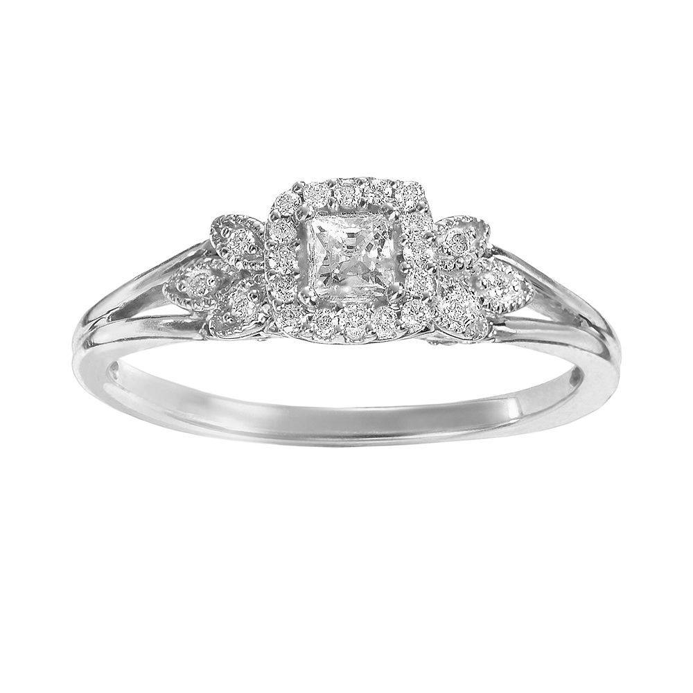 Simply Vera Wang Diamond Leaf Halo Engagement Ring In 14k White Gold 1 4 Ct TW