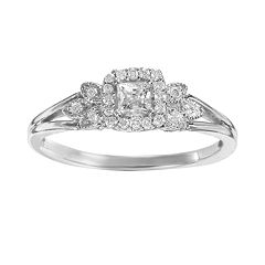 Simply Vera Vera Wang Diamond Leaf Halo Engagement Ring in 14k White Gold (1/4 ctT.W.)