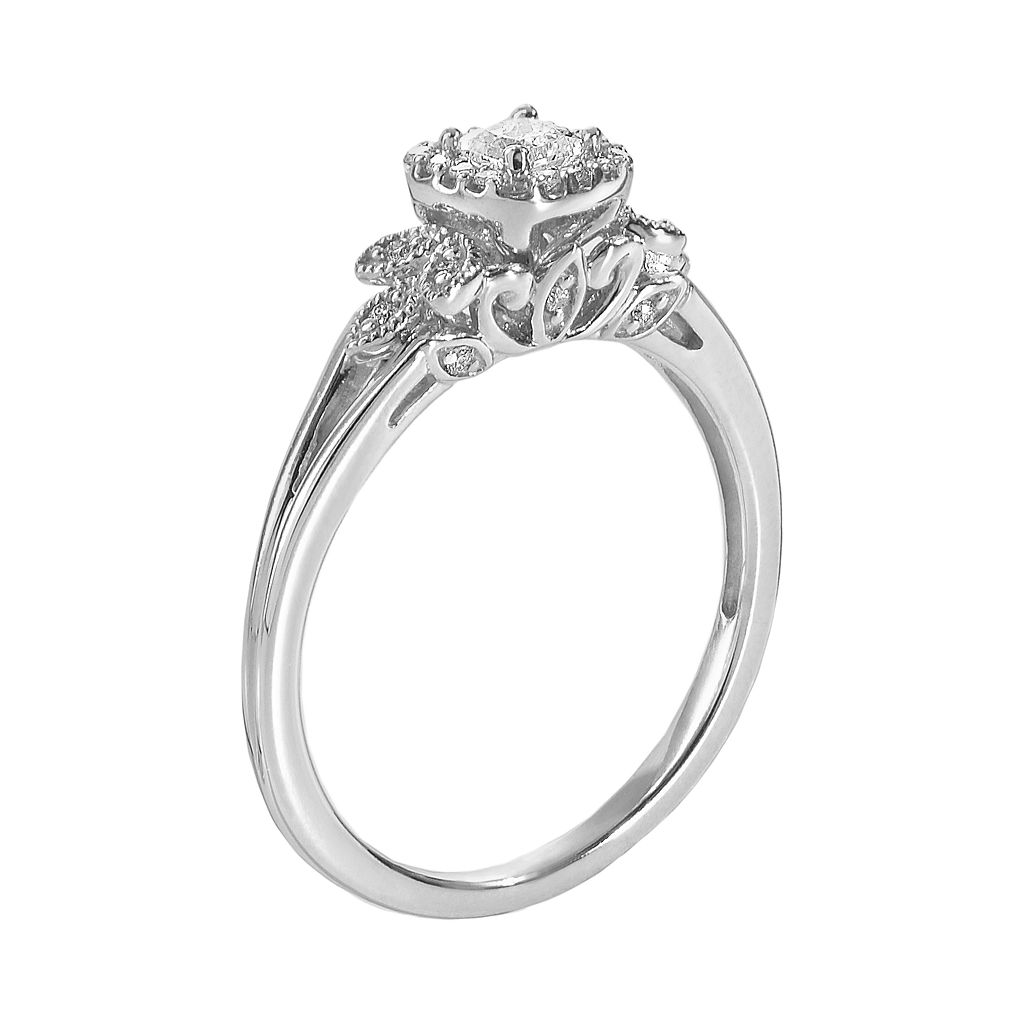 Simply Vera Vera Wang Diamond Leaf Halo Engagement Ring in 14k White Gold (1/4 ct. T.W.)