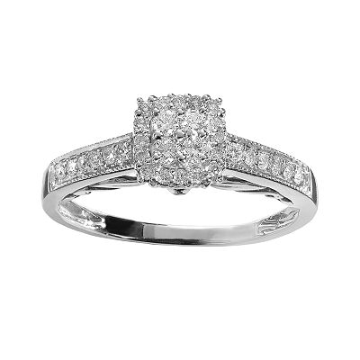 Simply Vera Vera Wang 14k White Gold 3/8-ct. T.W. Round-Cut Diamond Tiered Frame Ring