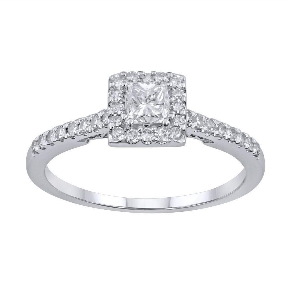 simply vera vera wang diamond halo engagement ring in 14k white gold 12 ct tw - Vera Wang Wedding Ring