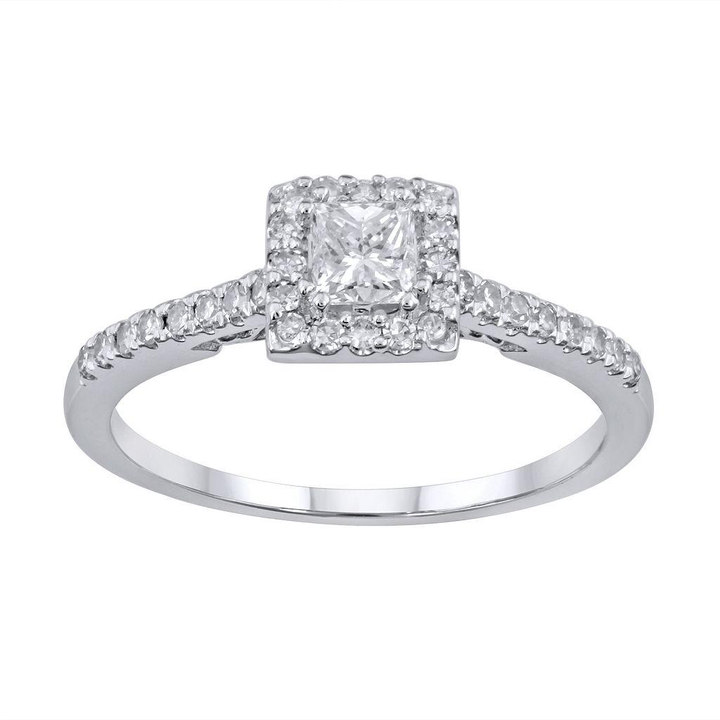 Simply Vera Vera Wang Diamond Halo Engagement Ring in 14k White Gold (1/2 ct. T.W.)