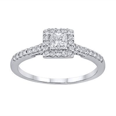 Simply Vera Vera Wang 14k White Gold 1/2-ct. T.W. Princess-Cut Diamond Frame Ring