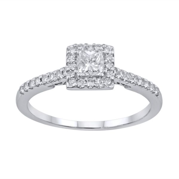 ... Princess-Cut Diamond Frame Engagement Ring in 14k White Gold (12 ct