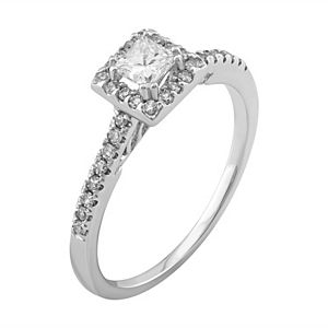 Simply Vera Vera Wang Diamond Halo Engagement Ring in 14k White Gold (1/2 ct. T.W.)