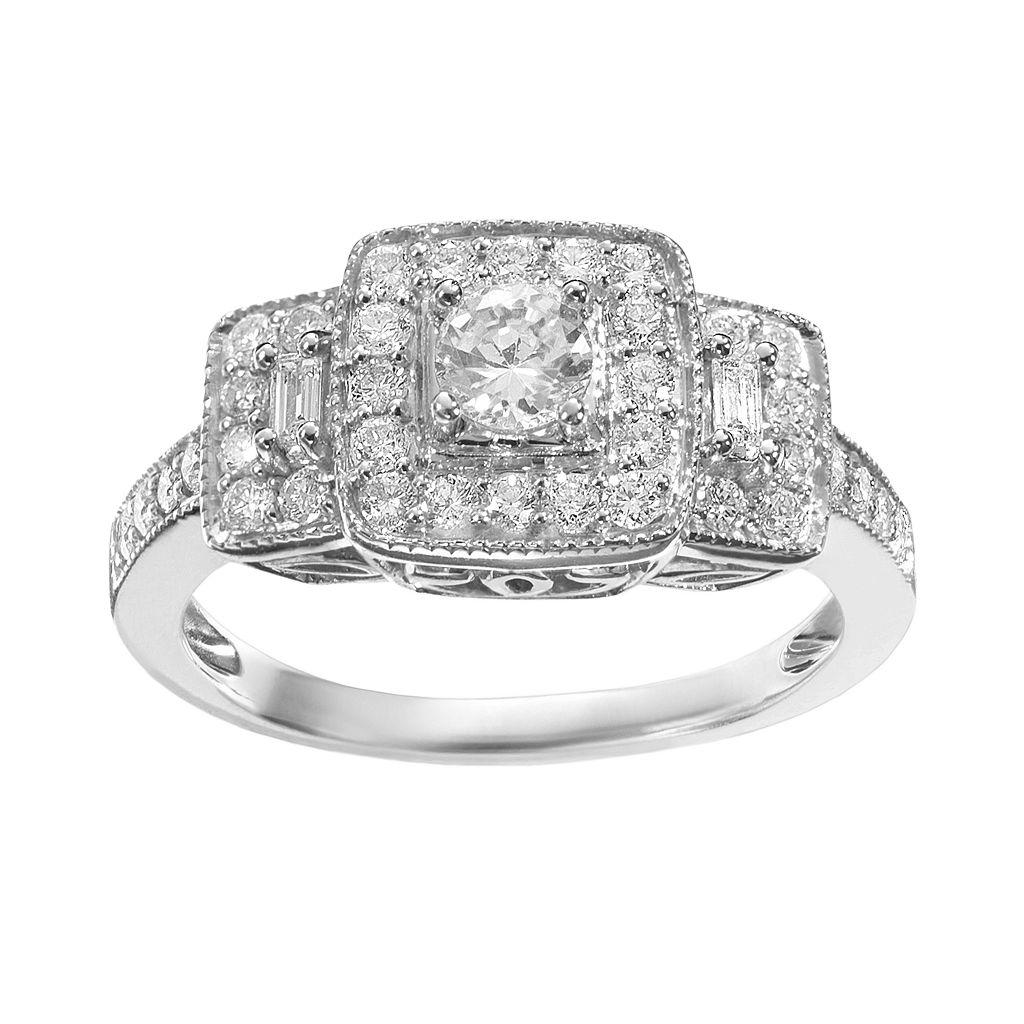 Simply Vera Vera Wang Diamond Trellis Halo Engagement Ring in 14k White Gold (3/4 ct. T.W.)