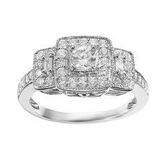 Simply Vera Vera Wang Diamond Trellis Halo Engagement Ring in 14k White Gold (3/4 ctT.W.)