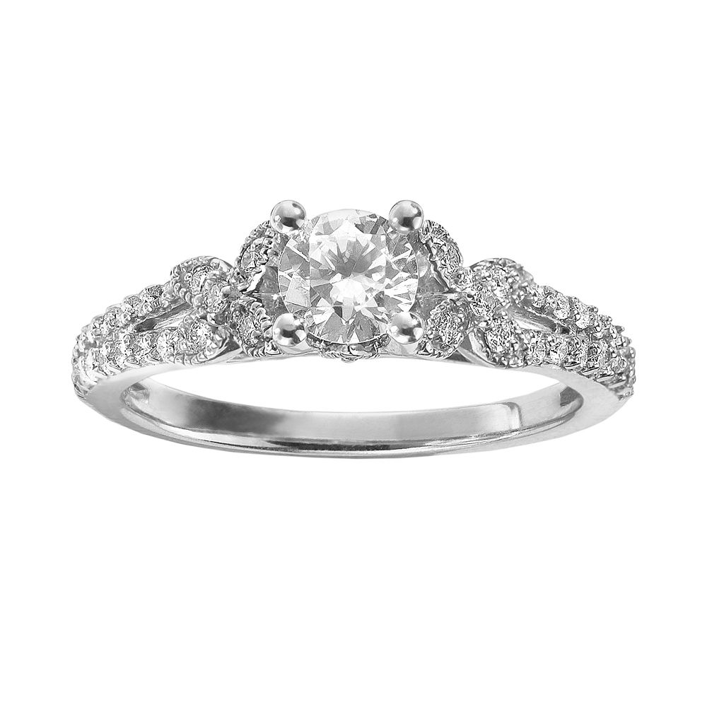 simply vera vera wang diamond butterfly engagement ring in 14k white gold 34 ct tw - Butterfly Wedding Rings