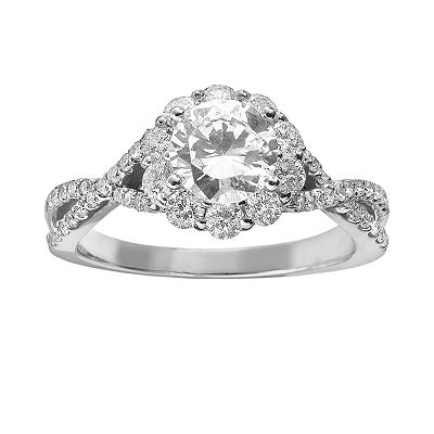 Simply Vera Vera Wang 14k White Gold 1 1/2-ct. T.W. Round-Cut Diamond Twist Frame Ring
