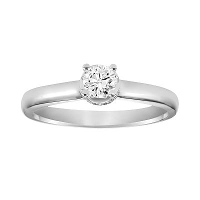 Simply Vera Vera Wang 14k White Gold 1/3-ct. T.W. Round-Cut Diamond Solitaire Ring