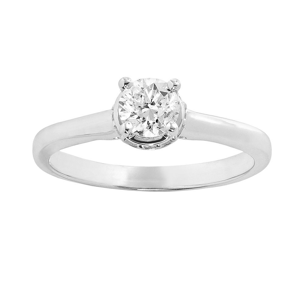 simply vera vera wang diamond solitaire engagement ring in 14k white gold 58 ct tw - Vera Wang Wedding Ring