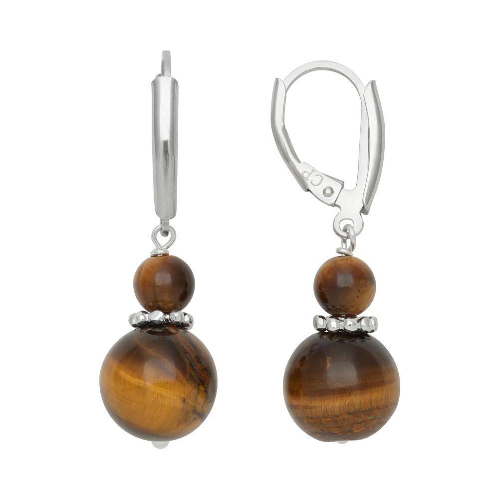 Sterling Silver Tiger's-Eye Bead Drop Earrings