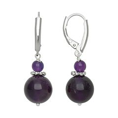 Sterling Silver Amethyst Bead Drop Earrings