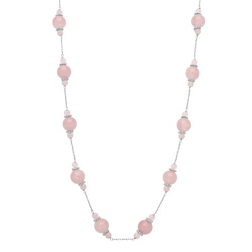Sterling Silver Rose Quartz Bead Necklace
