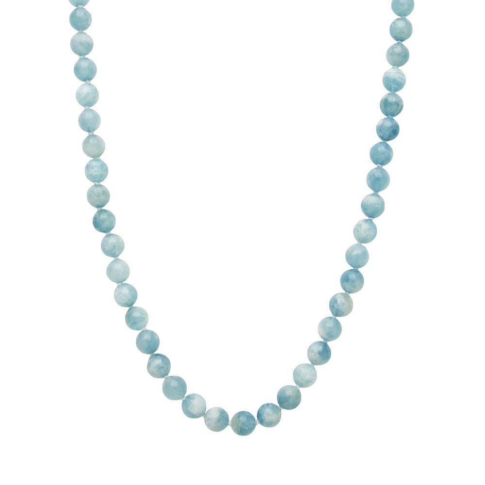 Sterling Silver Aquamarine Bead Necklace