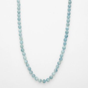 Sterling Silver Aquamarine Bead Long Necklace