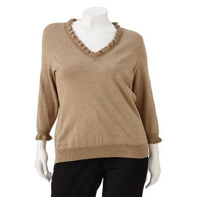 Chaps Lurex Ruffle Sweater - Women's Plus