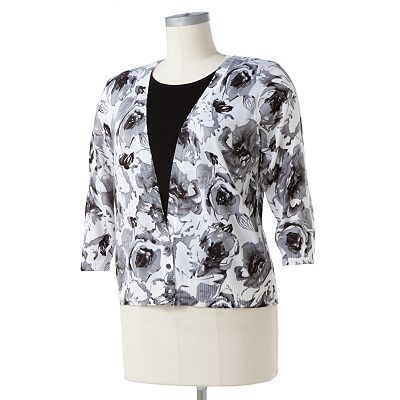 Cathy Daniels Floral Embellished Mock-Layer Sweater - Women's Plus