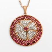 14k Rose Gold Over Silver and Sterling Silver Pink Tourmaline and Diamond Accent Flower Pendant
