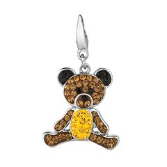 Sterling Silver Crystal Teddy Bear Charm