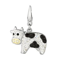 Sterling Silver Crystal Cow Charm